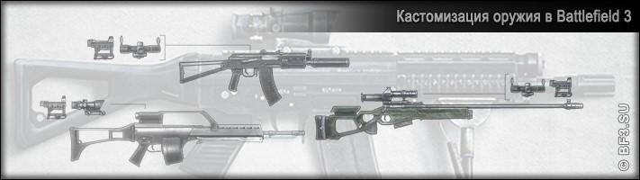 Кастомизация, анлоки для оружия в Battlefield 3
